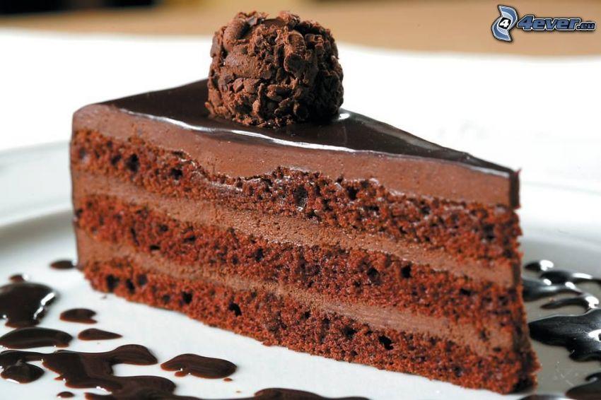 czekoladowy tort, kawałek tortu