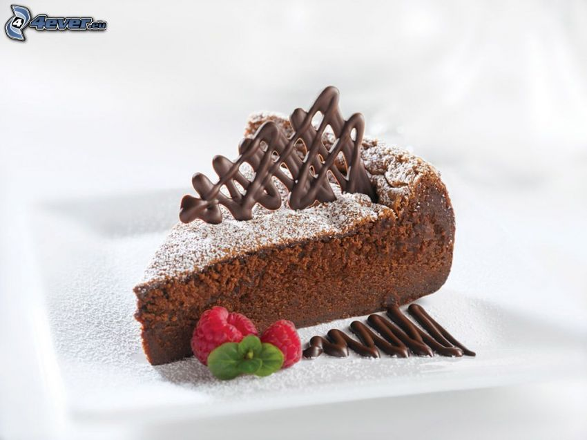 czekoladowy tort, maliny, czekolada