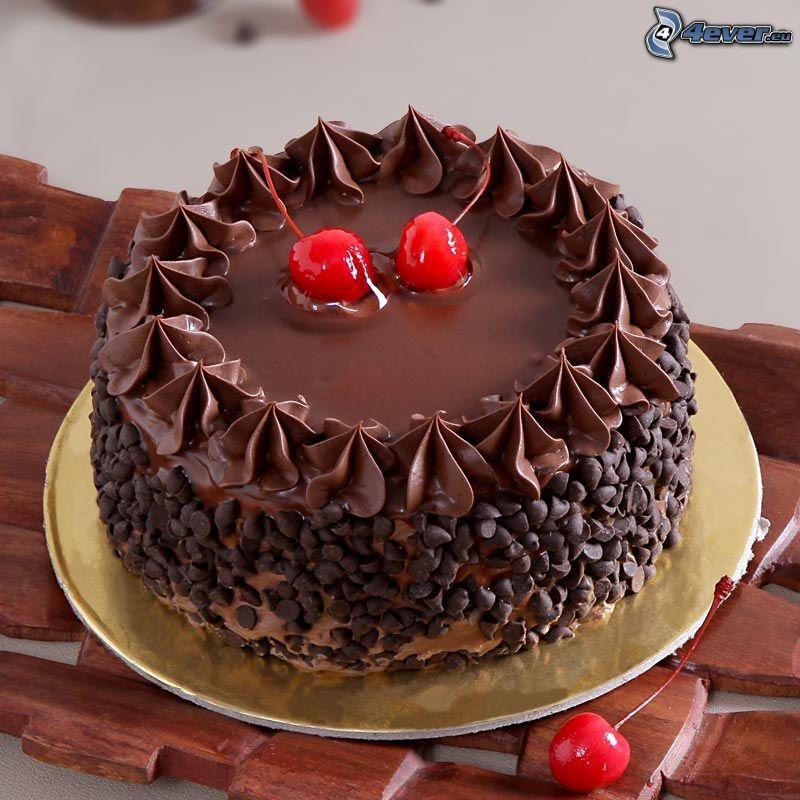 czekoladowy tort, wiśnie