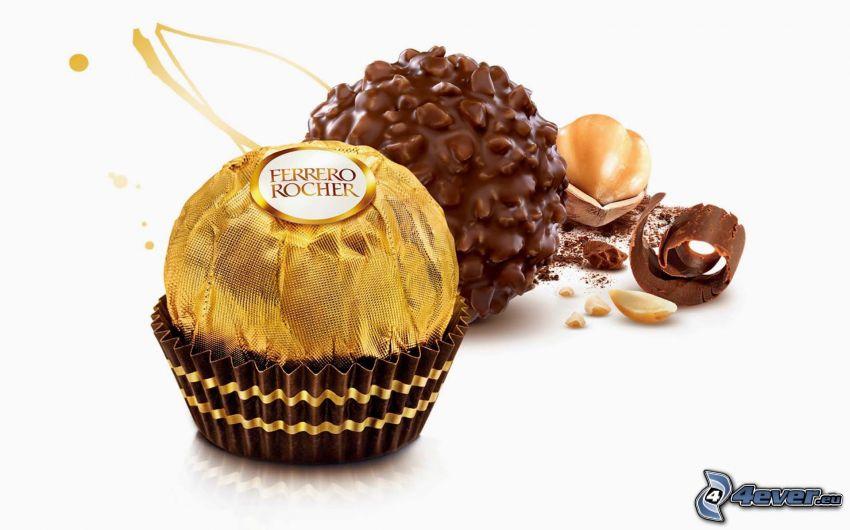 Ferrero Rocher, cukierki, czekolada, orzechy laskowe