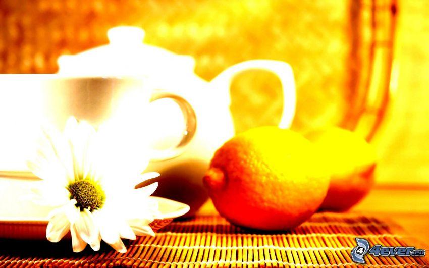 filiżanka herbaty, czajnik, cytryny