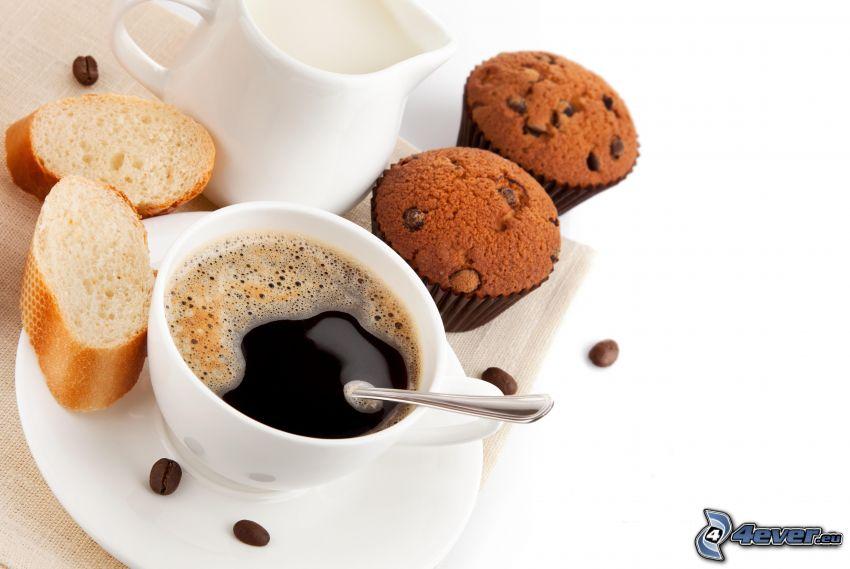 filiżanka kawy, babeczki, bagieta