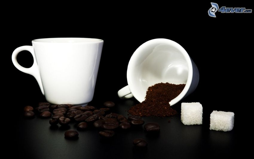 filiżanka kawy, ziarna kawy, kostki cukru