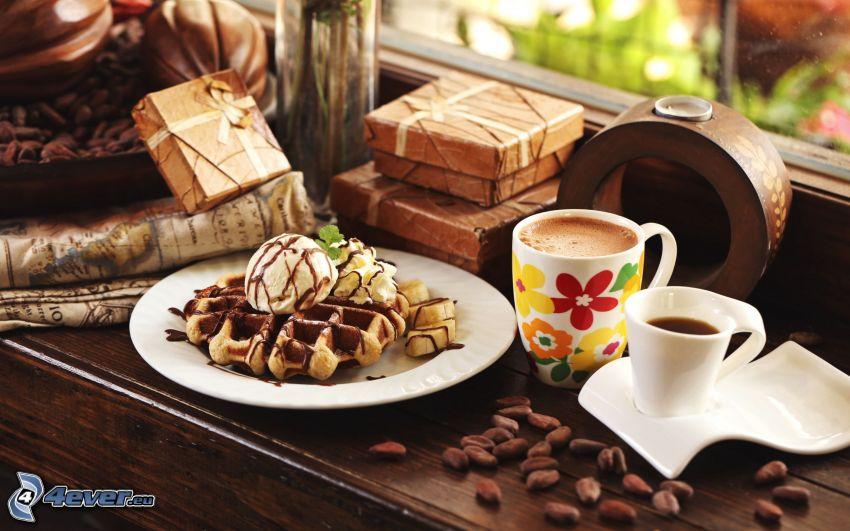 gofry, lody, filiżanka kawy, ziarna kawy, prezenty