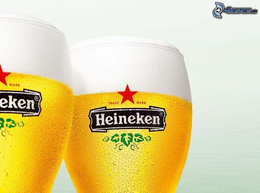 Heineken, szklanki piwa