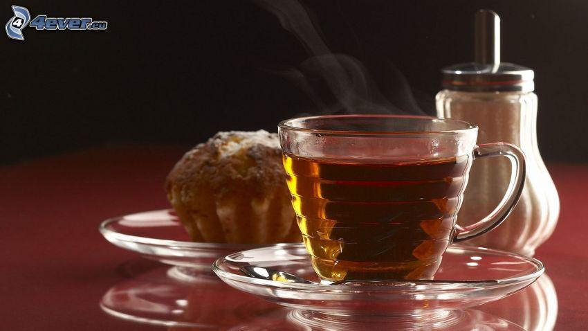 herbata, babeczki, cukier