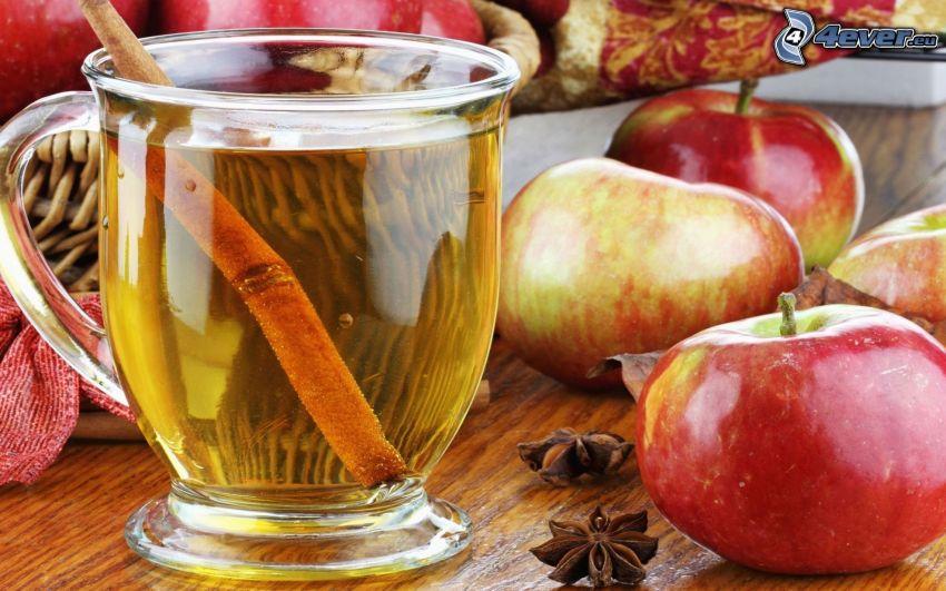 herbata, cynamon, czerwone jabłka, kubek