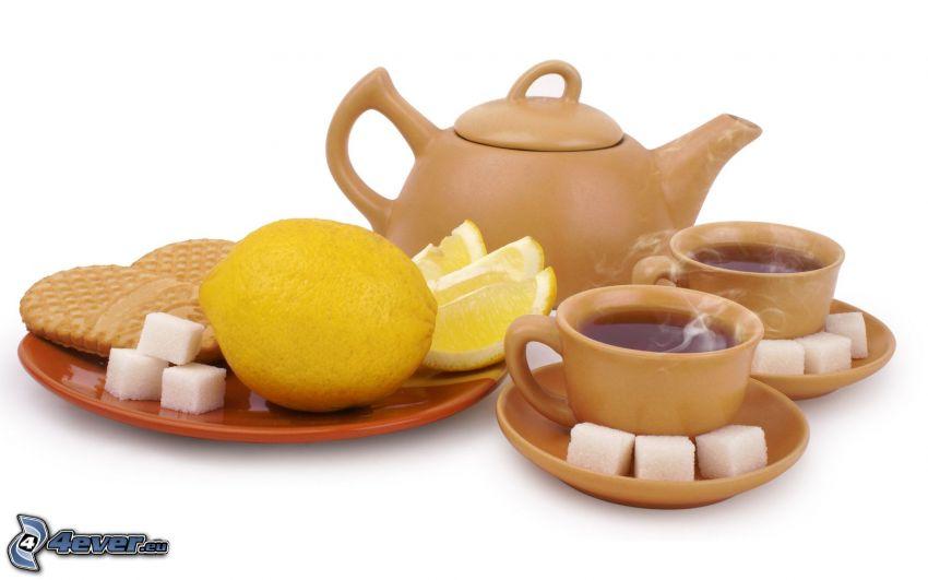 herbata, czajnik, filiżanka herbaty, cytryny