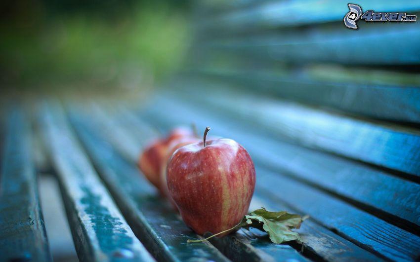 jabłko, ławeczka