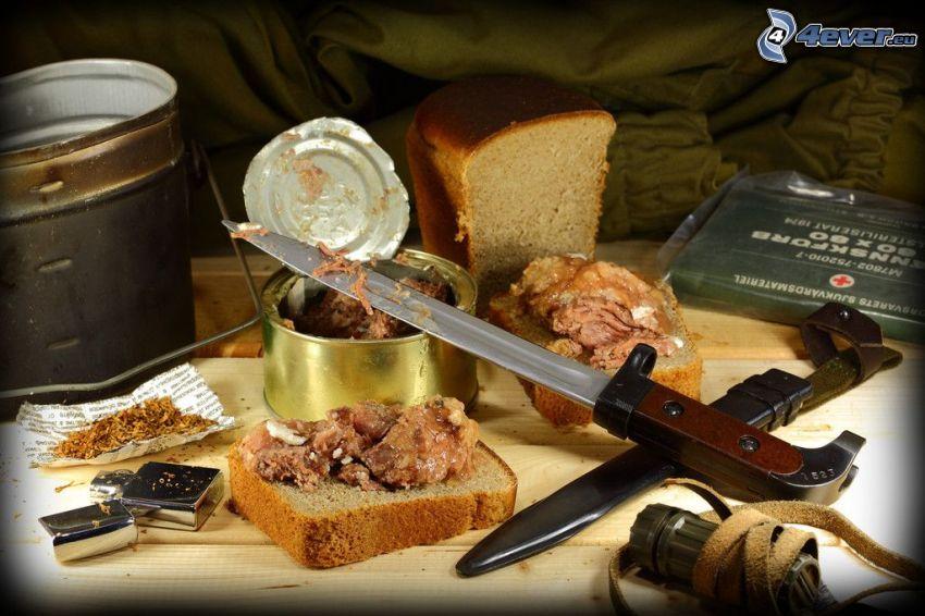 jedzenie, konserwa, mięso, nóż