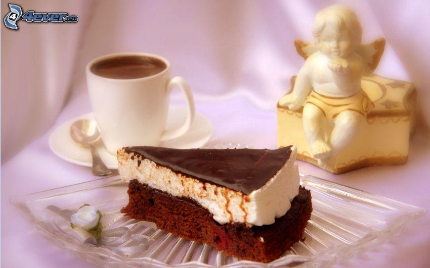 kawałek tortu, kawa, aniołek