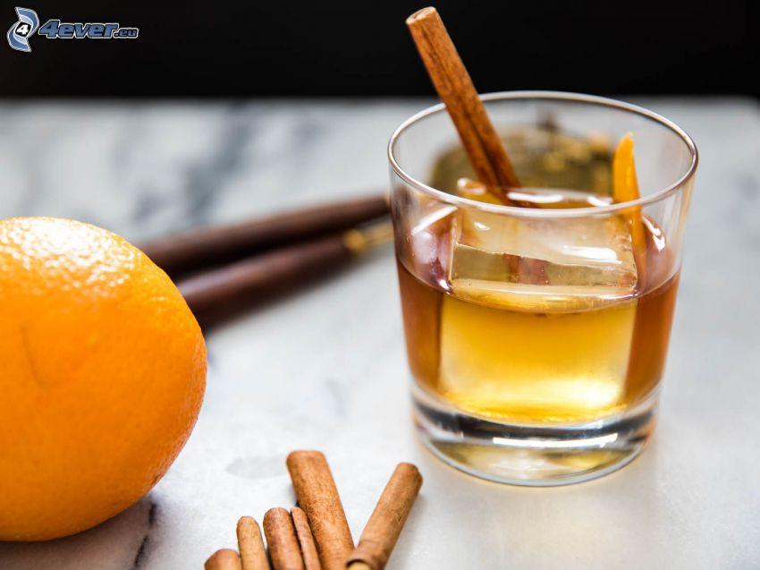 koktajl, cynamon, pomarańcz