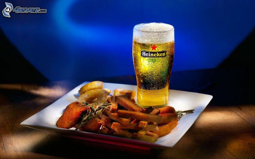 kolacja, Heineken, piwo, frytki