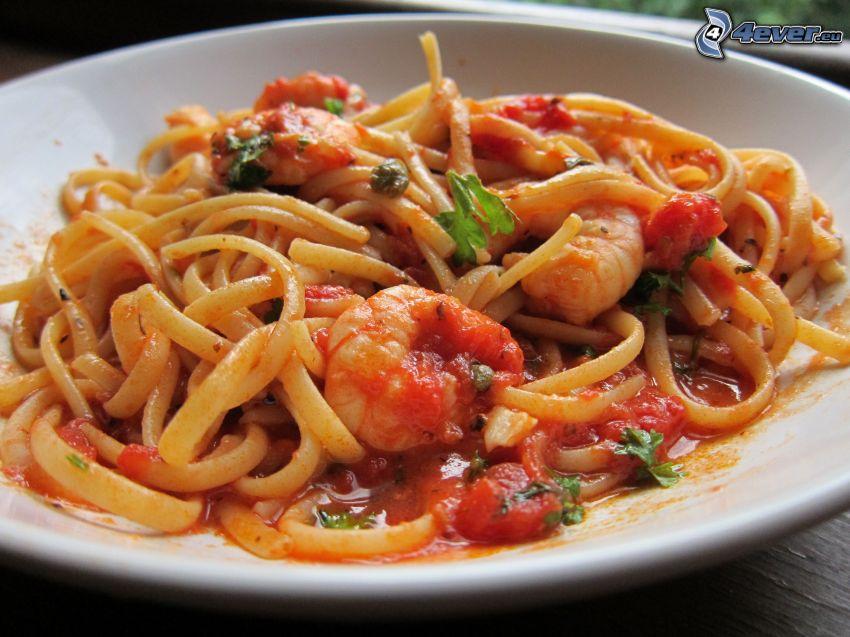 krewetki, spaghetti, sałatka z makaronu