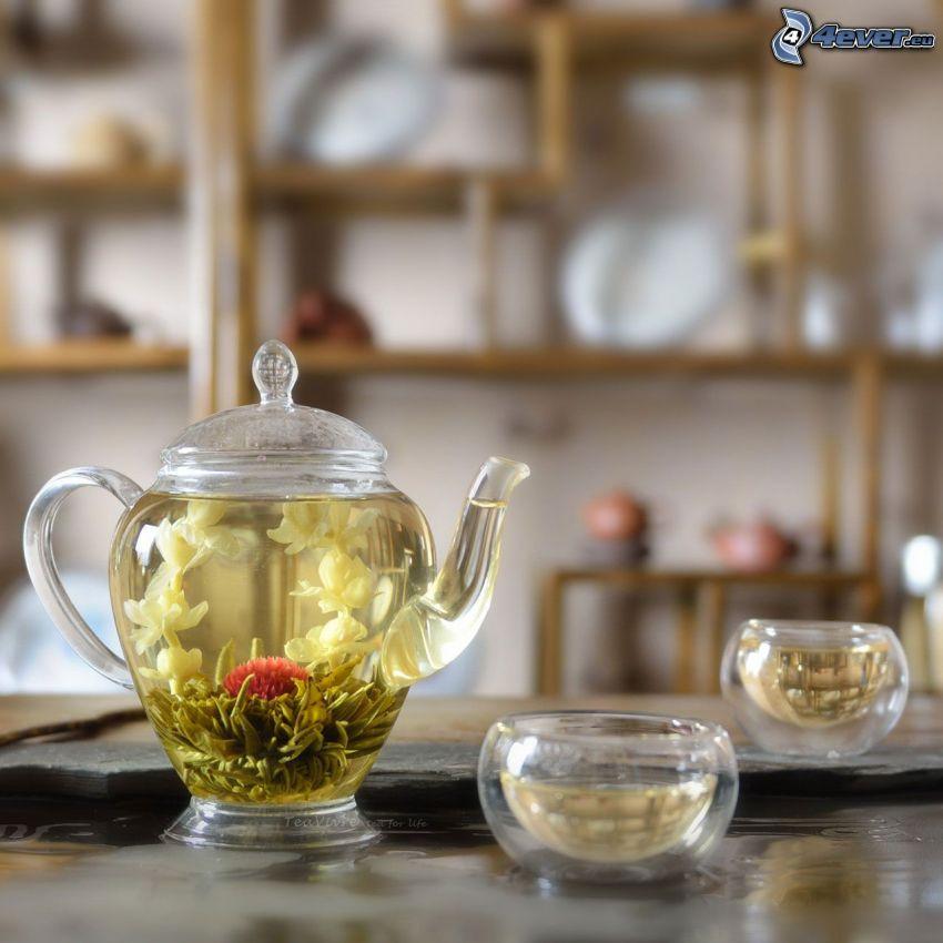 kwitnąca herbata, czajnik