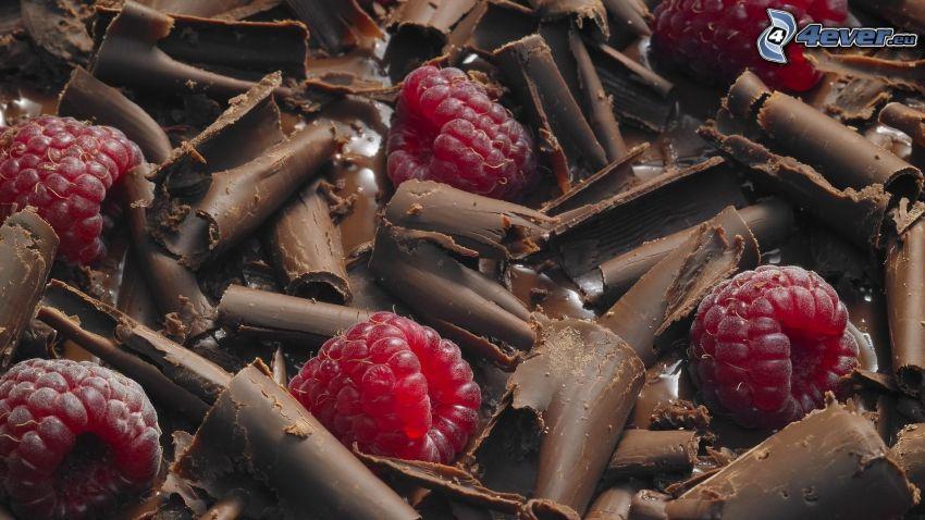 maliny, czekolada