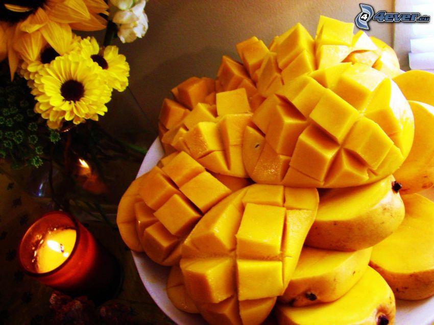 mango, bukiet, gerbery, świeca