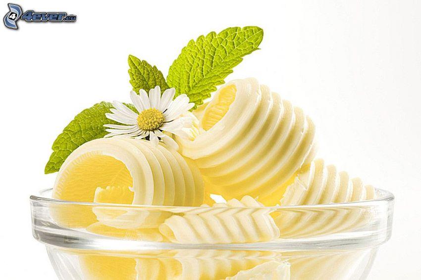 masło, liście mięty