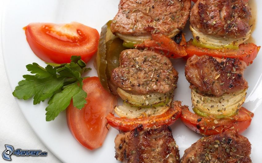 mięso, pomidor
