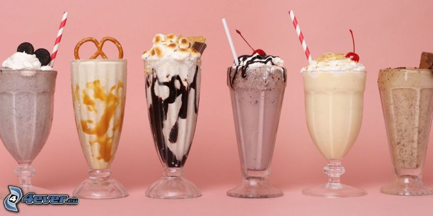 milk shake, bita śmietana, słomki