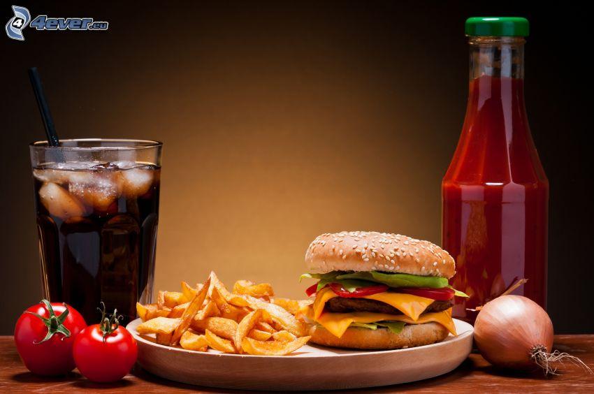 obiad, hamburger, frytki, ketchup, Coca Cola