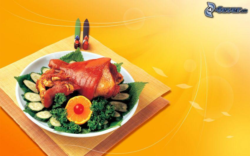 obiad, mięso, sałatka, pomarańczowe tło