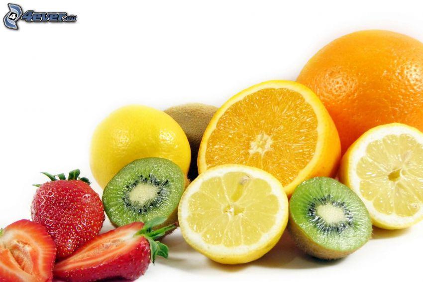 owoc, pomarańcz, cytryna, kiwi, truskawki