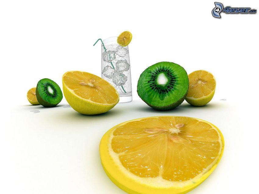 plasterki cytryny, kiwi, schłodzona woda, woda z cytryną