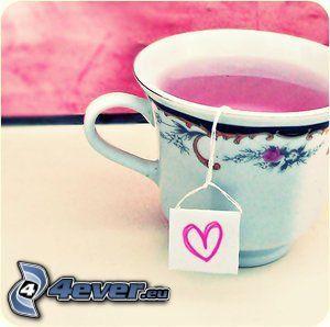 różowa herbata, różowe serce