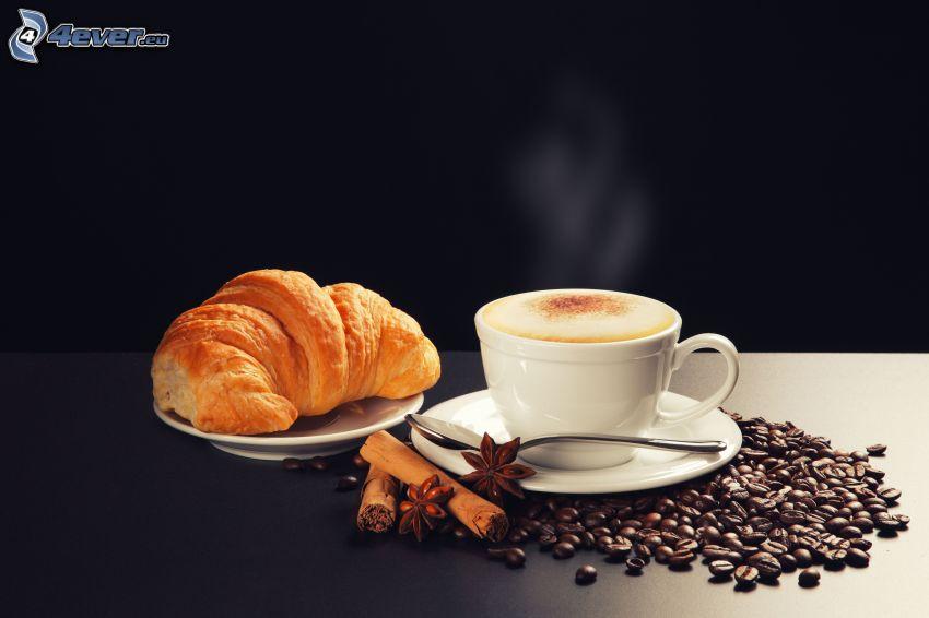 śniadanie, filiżanka kawy, croissant, ziarna kawy, cynamon