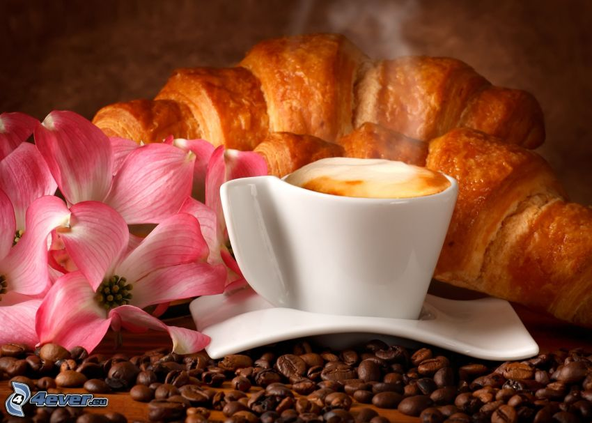 śniadanie, filiżanka kawy, rogale, różowe kwiaty