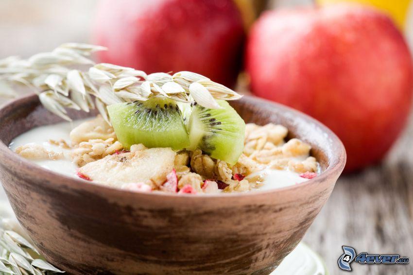 śniadanie, musli, kiwi, jabłka