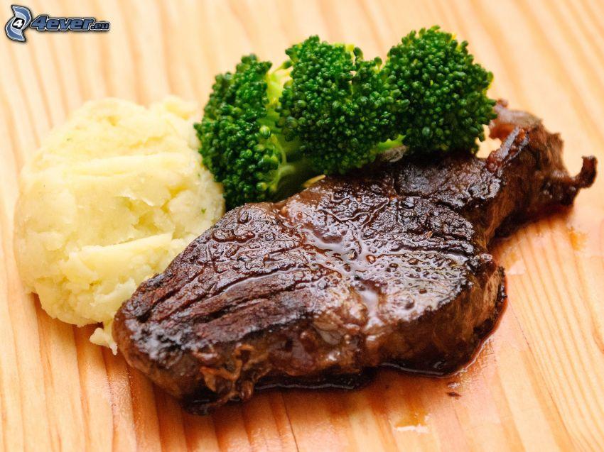 stek, brokuły
