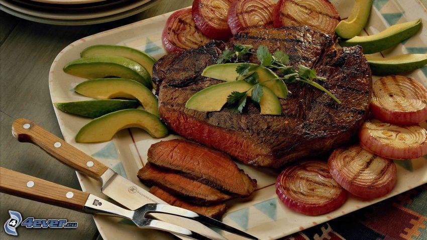 stek, mięso z grilla