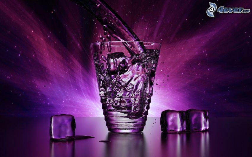 szklanka, strumień wody, plusk, kostki lodu, fioletowy
