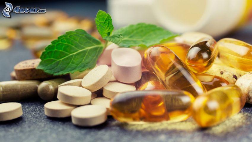tabletki, liście mięty