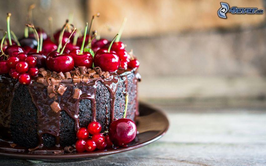 tort, czereśnie