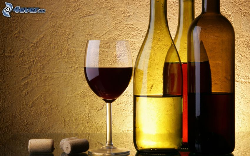 wino, butelki, szklanka, korek