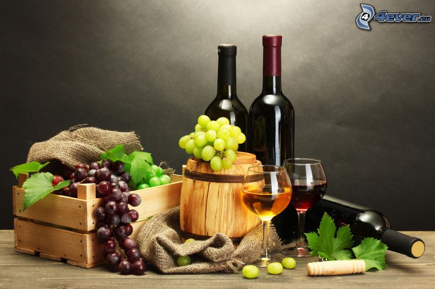 wino, winogrona, kieliszki