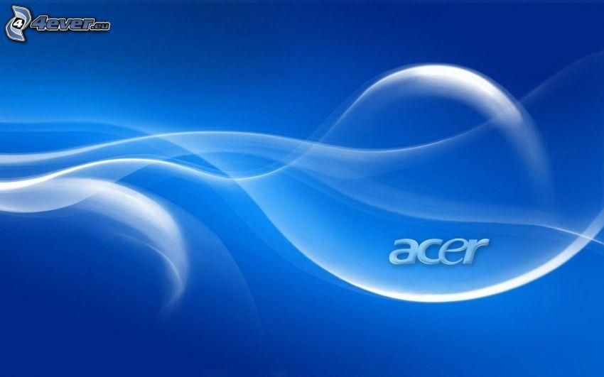 Acer, białe linie, niebieskie tło