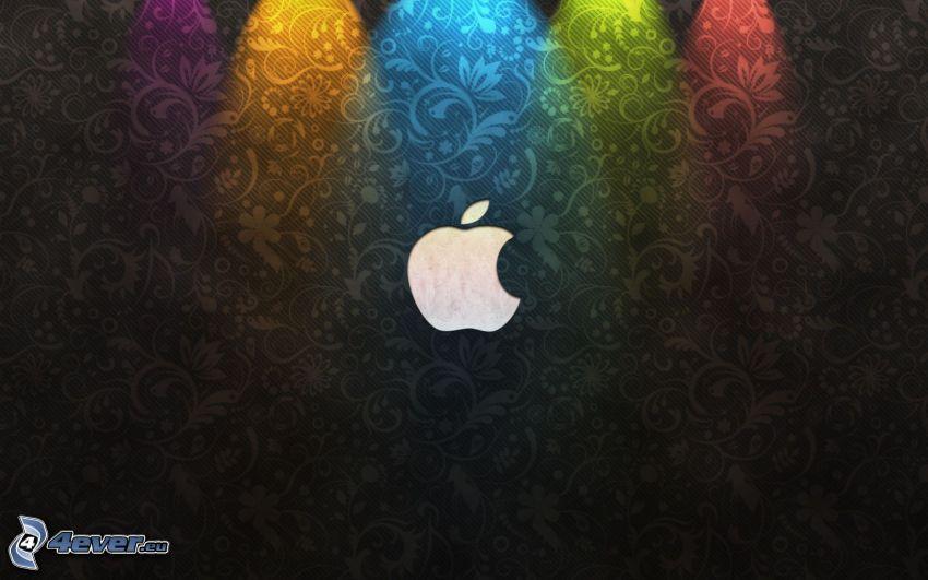 Apple, czarne tło, kolorowe światła