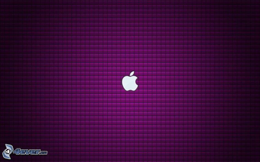 Apple, kwadraty, fioletowe tło