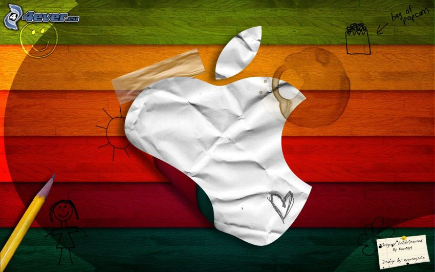 Apple, papier, kolorowe paski