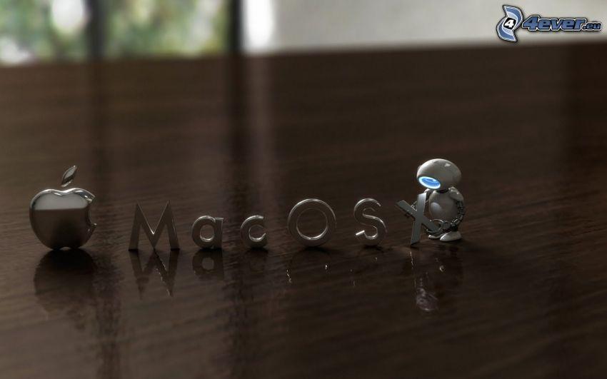 Apple Mac OSX, litery, robot