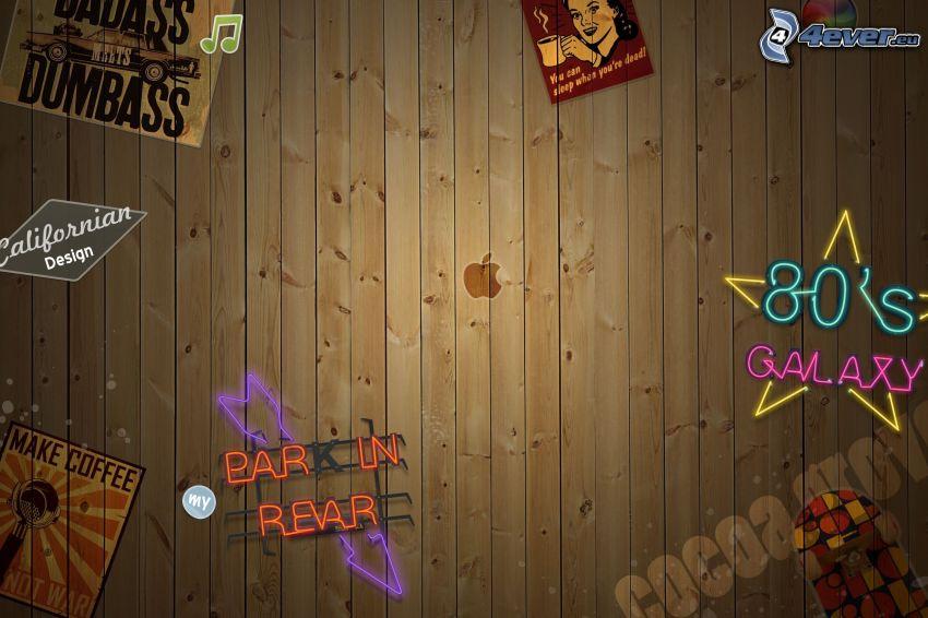 drewniana ściana, Apple