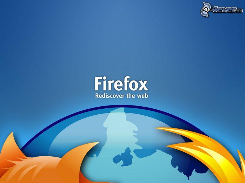 Firefox, niebieskie tło