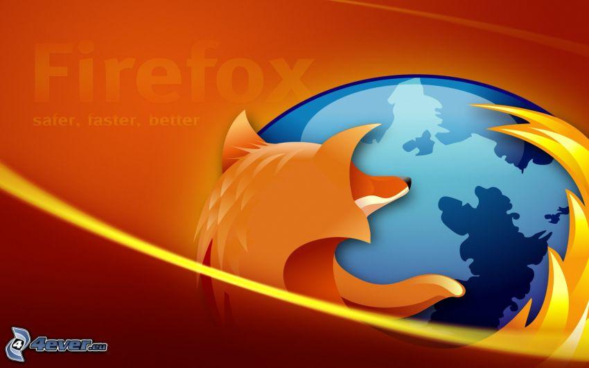 Firefox, pomarańczowe tło