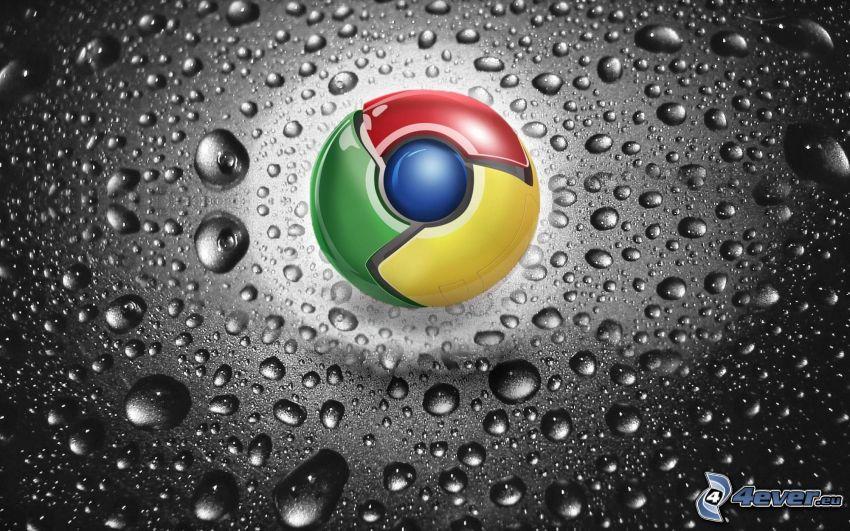 Google Chrome, krople wody