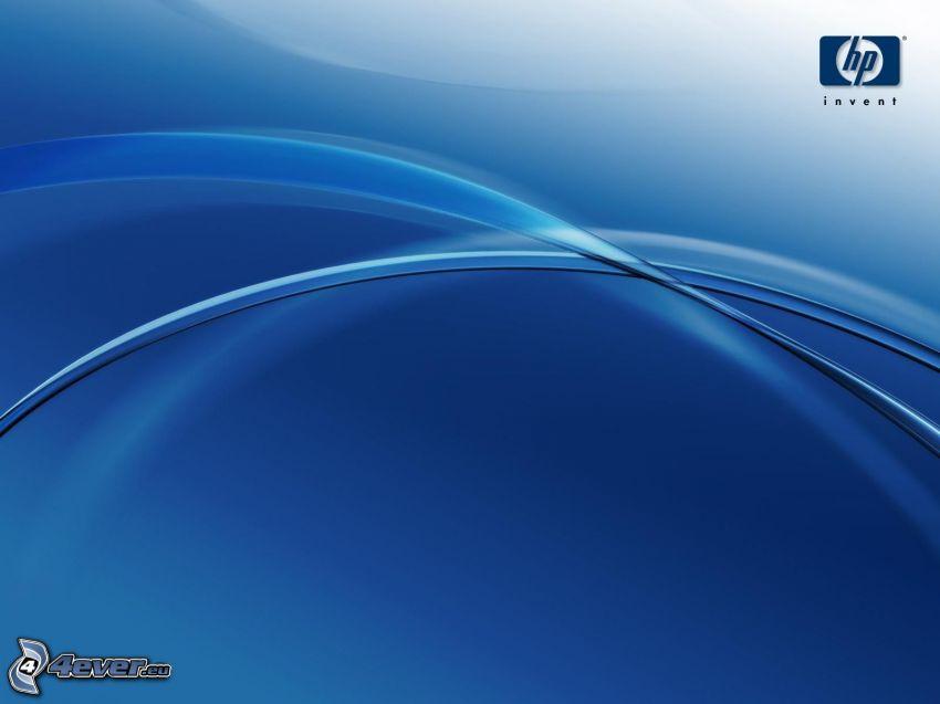 hp, niebieskie linie, niebieskie tło