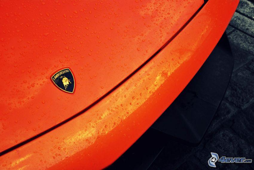 Lamborghini, krople wody